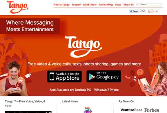 SoundWater.com On -Tango Where Messaging Meetins Entertainment .. Free video , voice, text, and sharing photos, games and more